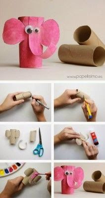 Animais feitos com rolo de papel