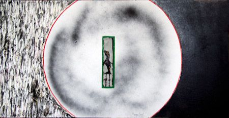The circle the order and the disorder Tempera, panel, quartz sand, 42X80 cm