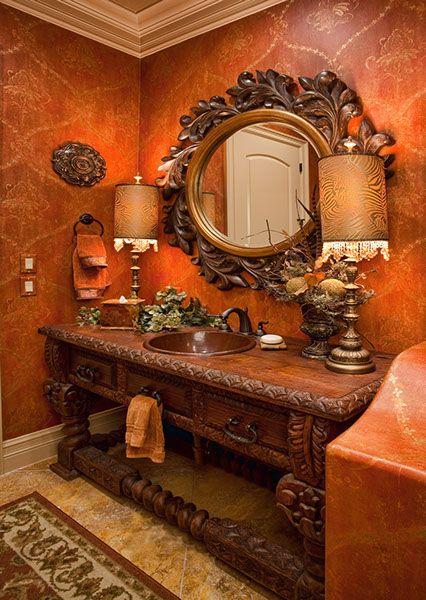 interior design for powder bath custom tuscan teak wood vanity ceramic tile flooring - Tuscan Bathroom Design