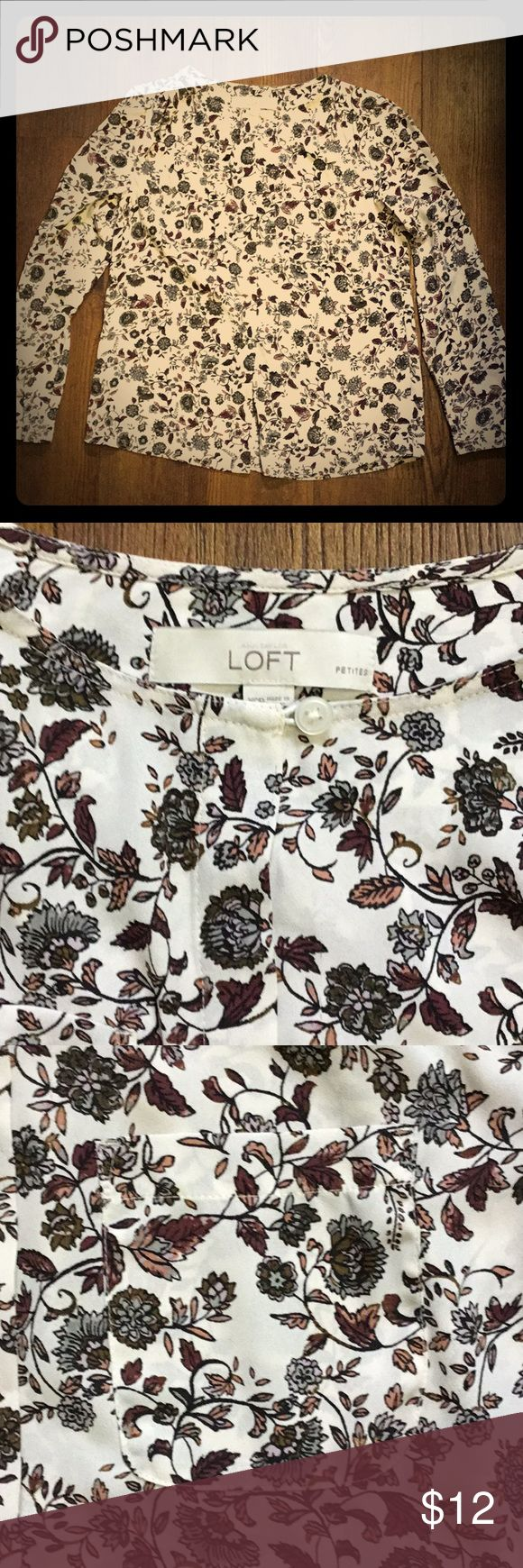 Loft petite blouse Sweet floral button down blouse from Loft.  It's a cream colored background with antique grey, burgundy, and rose flowers.  This top will suit anyone sharing an obsession for all things vintage-looking.  It's sized as XS petit. LOFT Tops Blouses