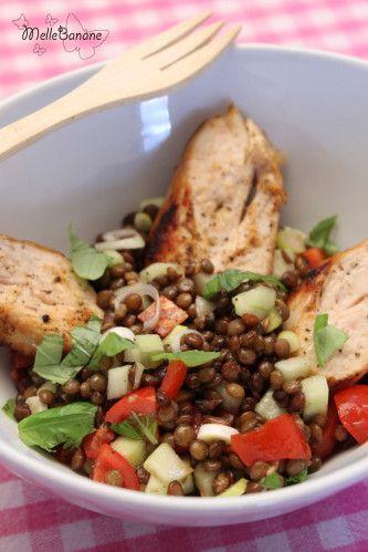 Salade de lentilles au poulet et petits légumes | Melle Banane's Cuisine