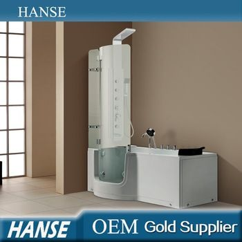 HS-B004 corner bath shower combo/small corner tub shower/walk in bathtub with shower