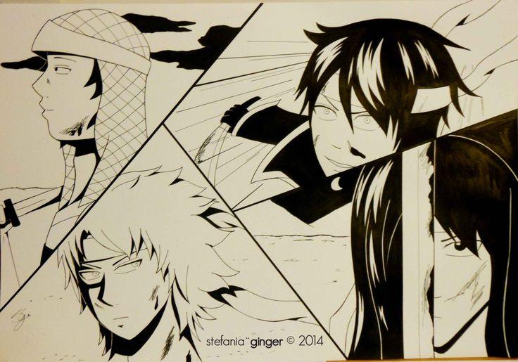 Joui! Tatsuma, Gintoki, Shinsuke 'n Kotaro from #Gintama A3 - ink