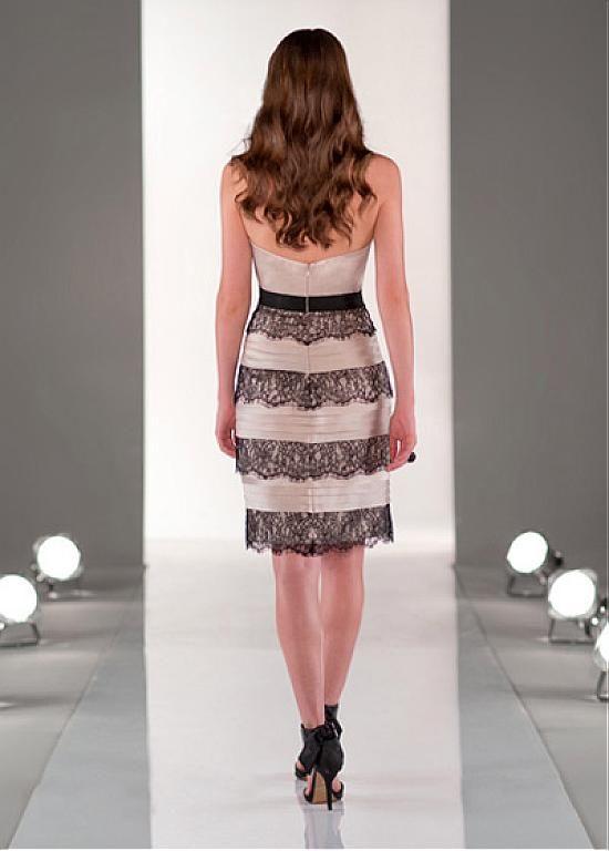 Stunning Lace & Stretch Satin Sweetheart Neckline Knee-length Sheath Homecoming Dress