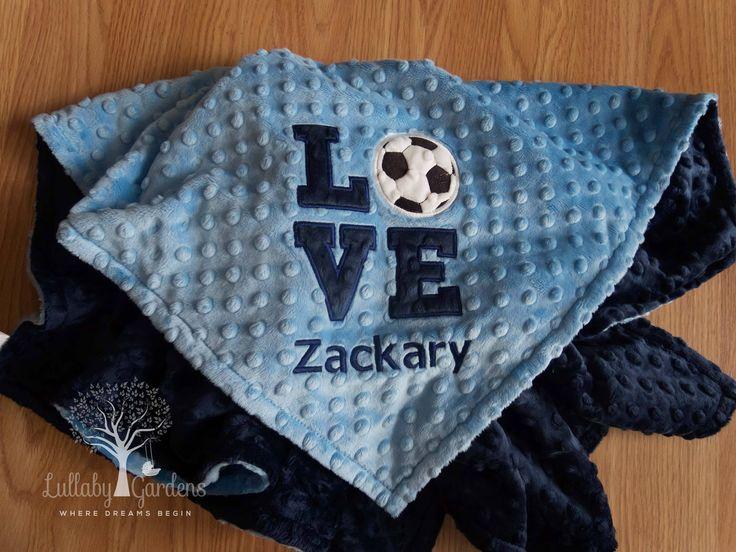 Soccer Personalized Minky Baby Blanket, Gender Neutral Baby Blanket, Soccer Baby Blanket, Personalized Baby Gifts, Appliqued Soccer Blanket by LullabyGardens on Etsy
