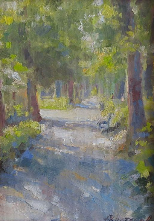 """Buy Sunny day in the Public Gardens (framed 8.7x7x0.5""""), Oil painting by Alexander Koltakov on Artfinder. Discover thousands of other original paintings, prints, sculptures and photography from independent artists."""