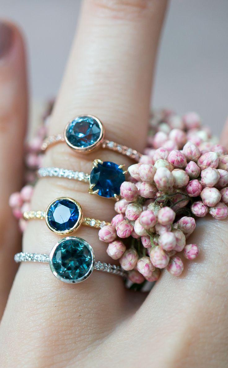 Sapphire engagement rings in minimal vintage style rings