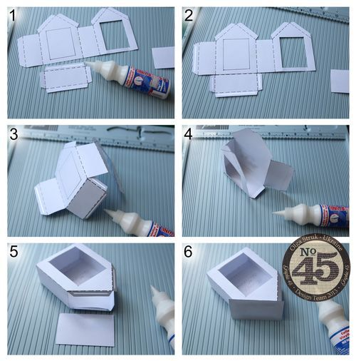 Learn how to make tinyTwelve Days of Christmas houses with a great tutorial from Olga! #Graphic45 #tutorials (measurements are in blog post near the end)