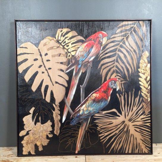 Πίνακας ζωγραφικής πάνω σε ξύλινο κάδρο με ιδιαίτερο σχέδιο από φύλλα και παπαγάλους ζωγραφισμένους. Ένας πίνακας που ταιριάζει σε κάθε μοντέρνο σπίτι ή επαγγελματικό χώρο.Το NEDAshop.gr υποστηρίζεται από το κατάστημα μας όπου μπορείτε να δείτε όλα τα αντικείμενα από κοντά.Το κατάστημα μας βρίσκετε: Λεωφόρος Θηβών 503 Αιγάλεω http://nedashop.gr/pinakas-zografikhs-ksylo-fylla-papagaloi