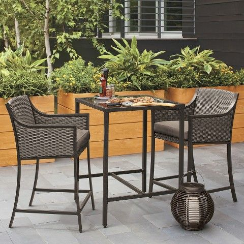 Threshold™ Casetta 3 Piece Wicker Patio Bar Height Bistro Furniture Set
