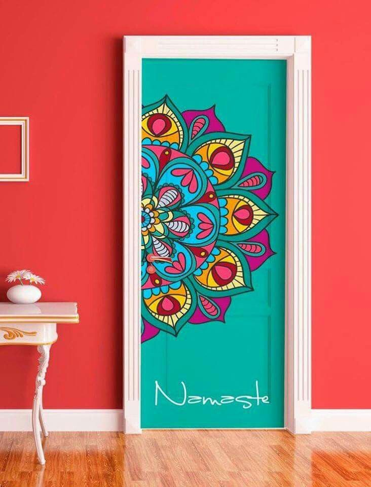 No words just a pretty design on my door with images