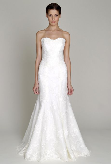 Brides: Bliss by Monique Lhuillier. Ivory re-embroidered lace strapless sweetheart neckline fitted trumpet gown  More Details From Bliss by Monique Lhuillier