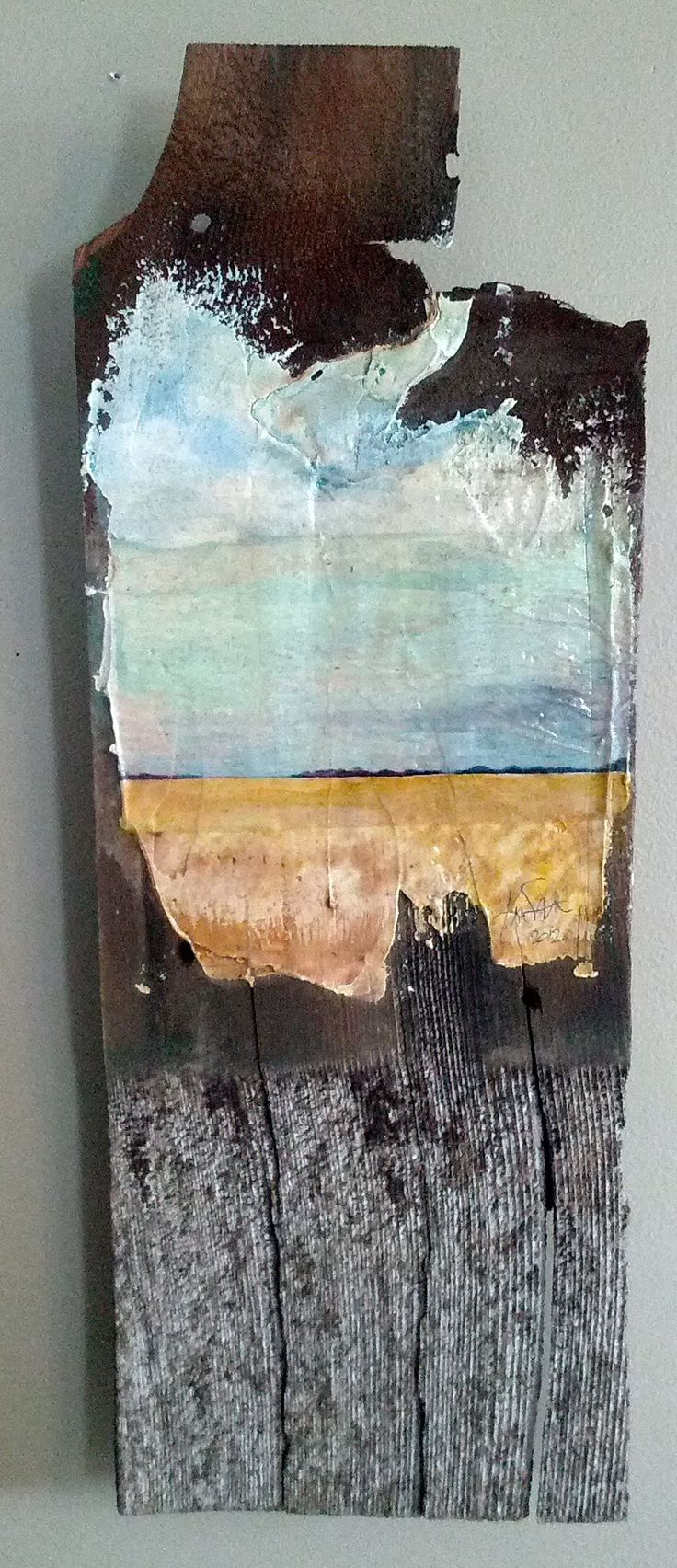 Back Forty Mixed media on 100 year old wood.
