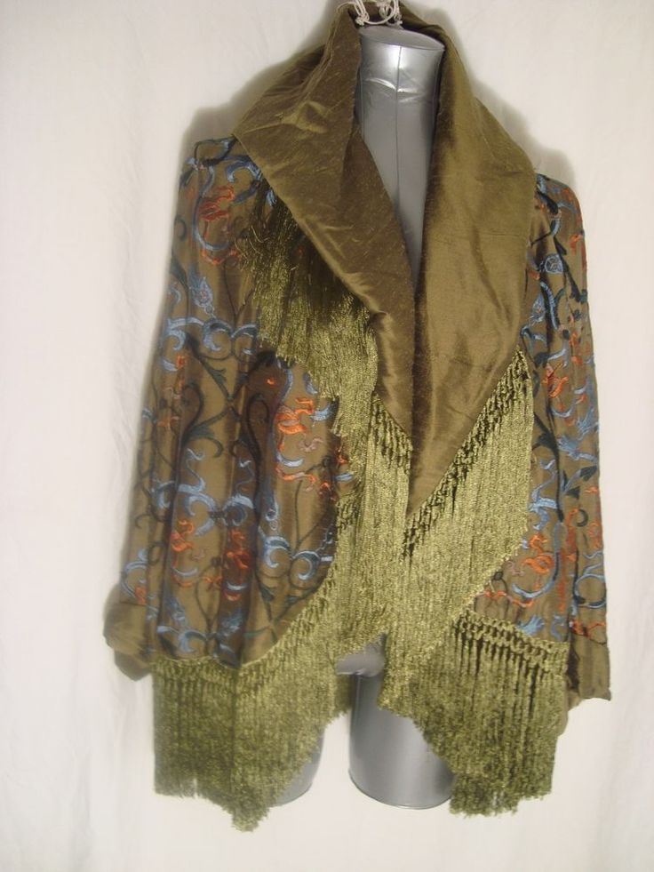 Romeo Gigli for Callaghan Vtg Green w/Multi Emb FRINGED Silk Jacket WEARABLE AR #RomeoGigli #Wrap