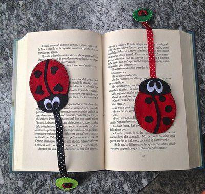 segnalibro in feltro a forma di coccinella bookmark