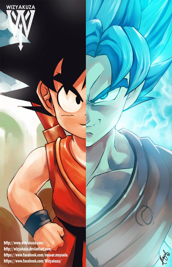 Kid Goku Super Saiyan azul Split de Goku - Dragon Ball Z y Super - impresión Digital de 11 x 17