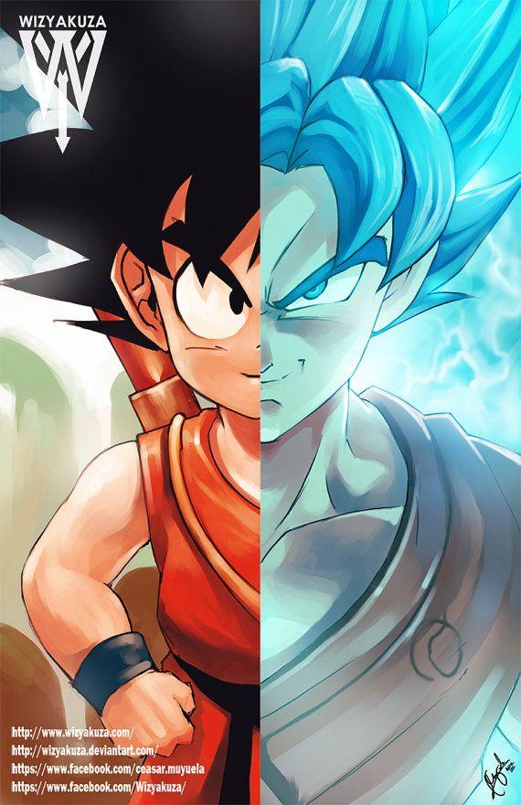 Kid Goku Super Saiyan azul Split de Goku - Dragon Ball Z y Super - impresión Digital de 11 x 17