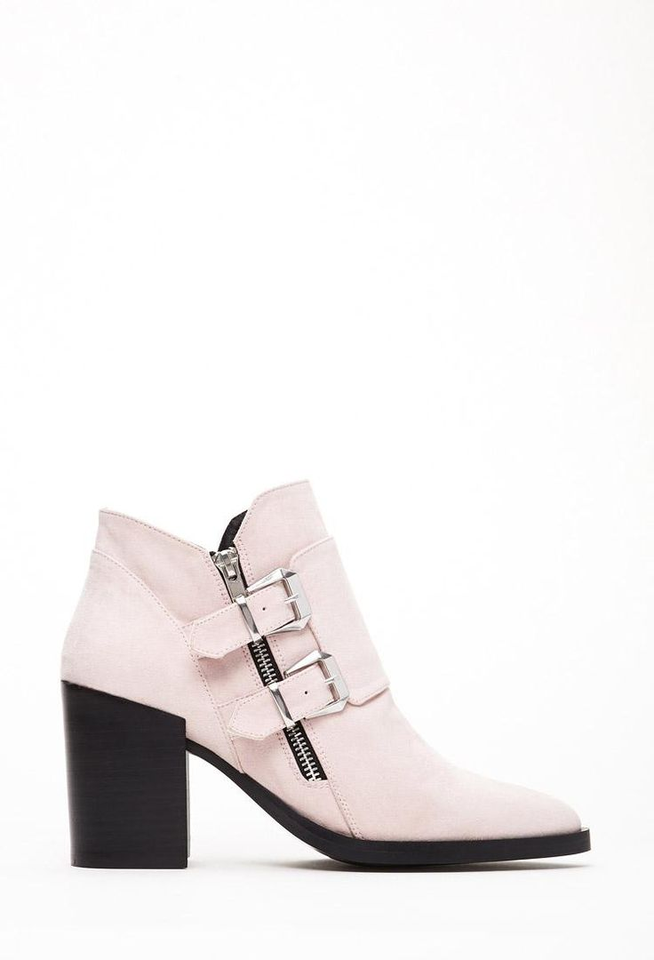 The Coolest Spring Boots in Stores Right Now - Forever 21 Buckled Faux Suede Pink Boot, $39.90; at Forever 21