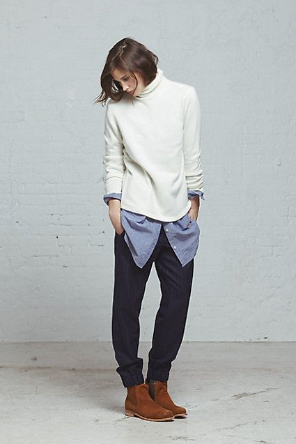 Steven Alan Womens Fall 2013: Terrence Turtleneck Sweater / New Classic Shirtdress / Claude Pant / Suede Chelsea Boot