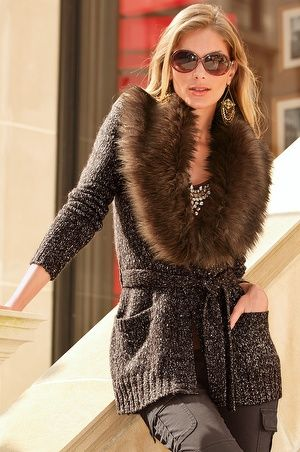 Sweater with faux fur collar- follow us www.helmetbandits.com like it, love it, pin it, share it!