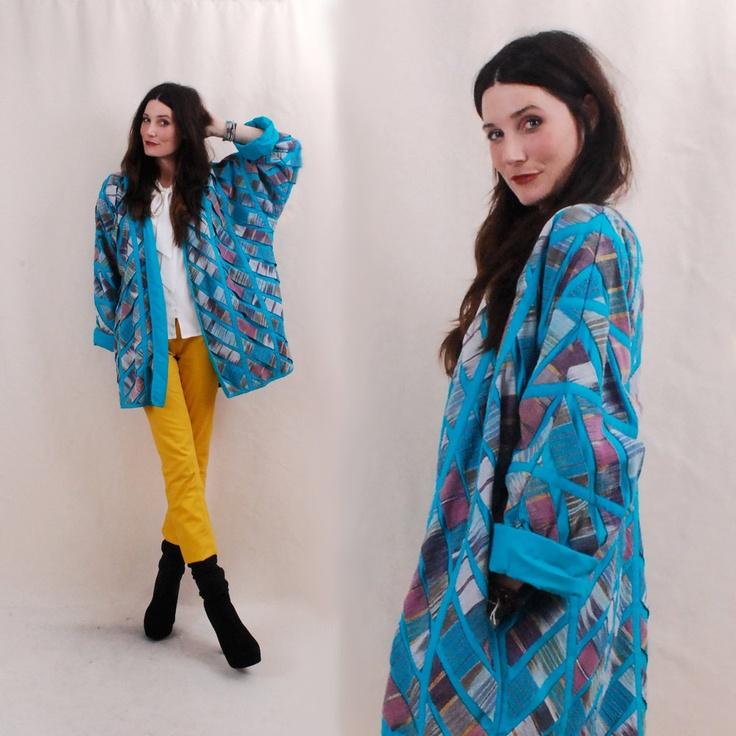 Vintage Kimono Jacket, swing coat, guatemalan fabric, folk art