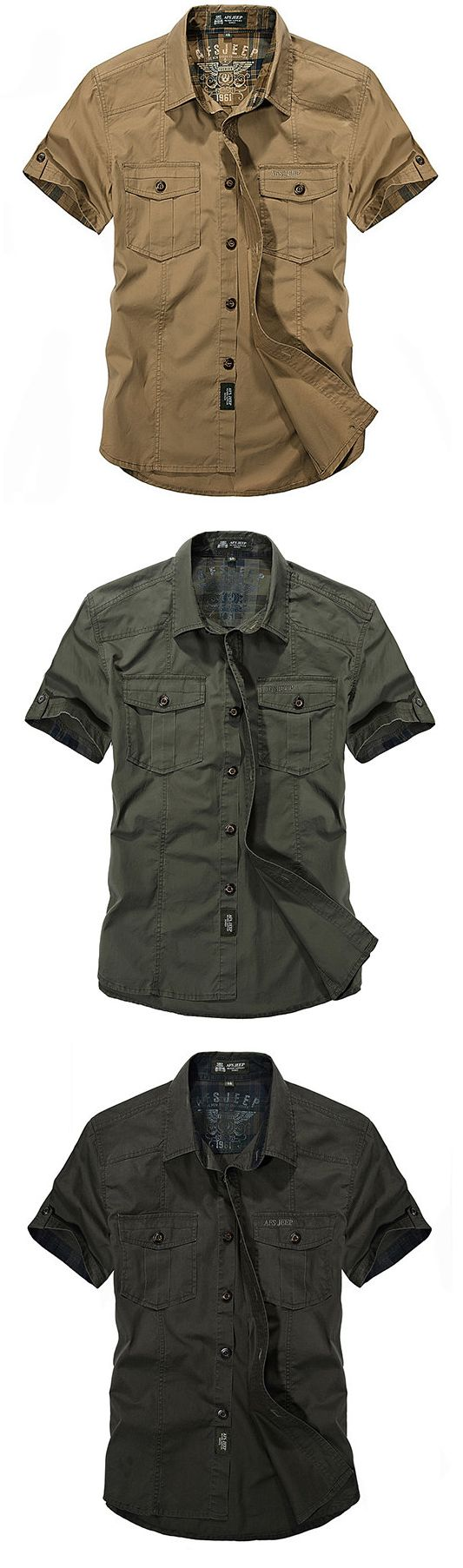 US$28.02 AFSJEEP Outdoor Sport Cotton Breathable Multi Pockets Cargo Short Sleeve Dress Shirts for Men