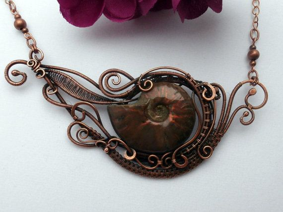 Wire Wrapped Necklace, Opal Ammonite Fossil in Copper, Handmade One of a Kind Jewelry via Etsy