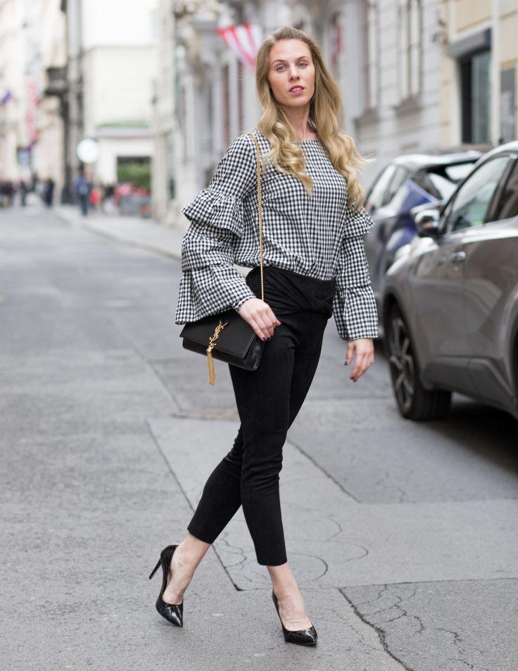 At Vienna Fashion Week: Vila shirt, Zara pants, River Island heels and YSL bag