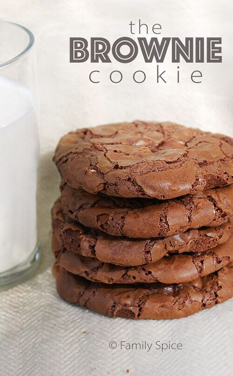 Chocolate Brownie Cookies: Crunchy on the outside, chocolate gooiness on the inside. Just like a brownie.