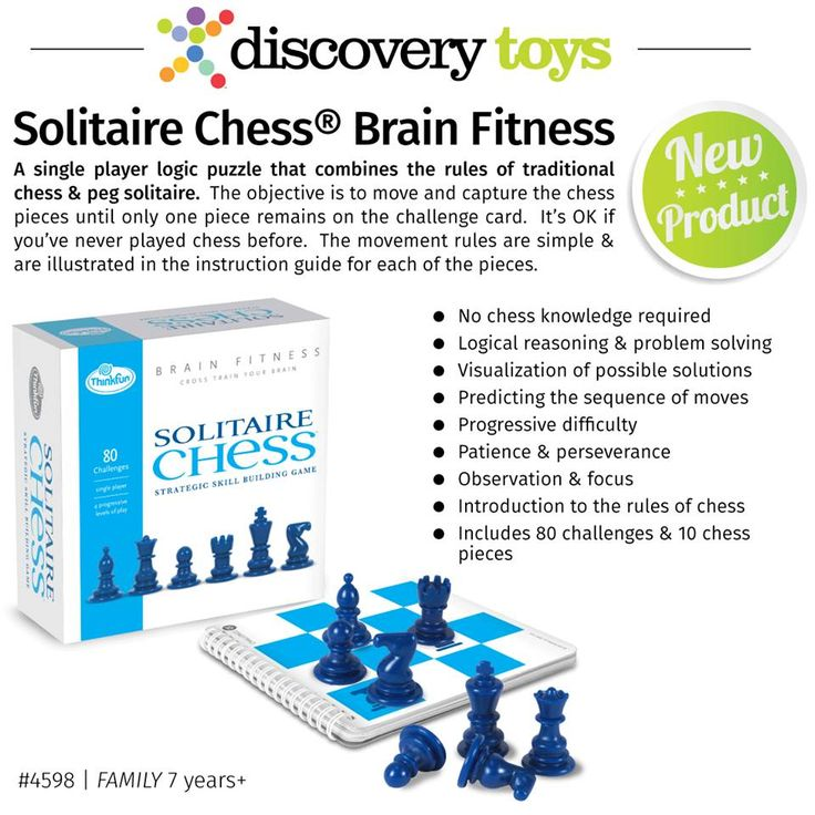 A single player logic puzzle that combines the rules of traditional chess and peg solitaire. 8 yrs +