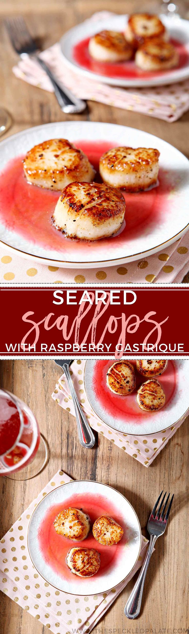 Elevate your romantic, at-home date night by serving Seared Scallops with Raspberry Gastrique! via @speckledpalate