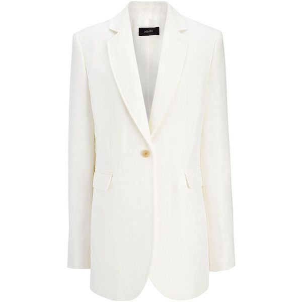 Joseph Linen Twill Laurent Jacket ($433) ❤ liked on Polyvore featuring outerwear, jackets, off white, twill jacket, joseph jacket, joseph blazer, linen jackets and off white jacket