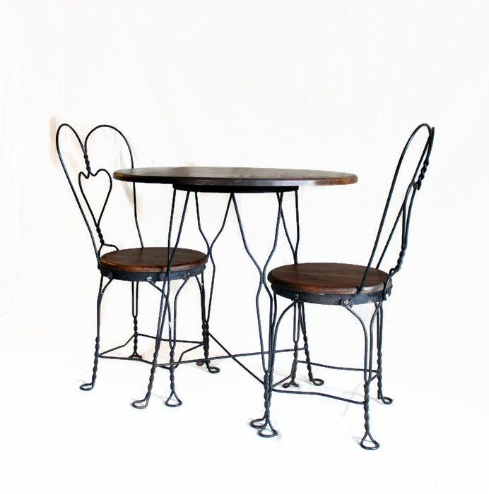 Vintage ice cream parlor table and chair set wrought for Wrought iron cafe chairs