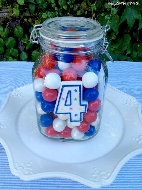 4th of July Centerpiece or Hostess Gift ... Cute for Canada day too... Red & white
