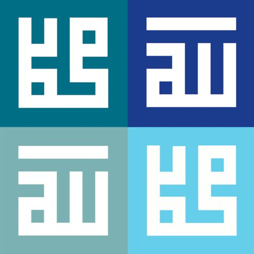 Aimi's Square Kufi series was inspired by the early Arabic transcript. This piece shows the wordings Allah Muhammad, styled in modern calligraphy art, designed in shades of blue and printed on a canvas print http://ezyposter.com/pd-allah-muhammad-square-kufi--shades-of-blue.cfm