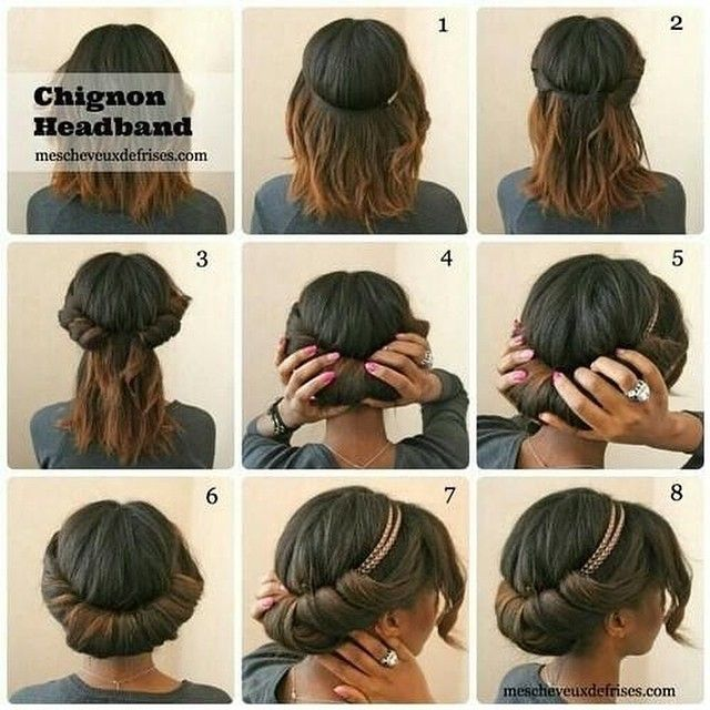 Voilà #tuto#tutorial#tutoriel#brown#cheveux#onduler#court#short#hair#cheveux#headband