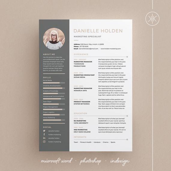 Danielle Resume Cv Template Word Photoshop Indesign Etsy Resume Design Cv Template Word Resume Design Template