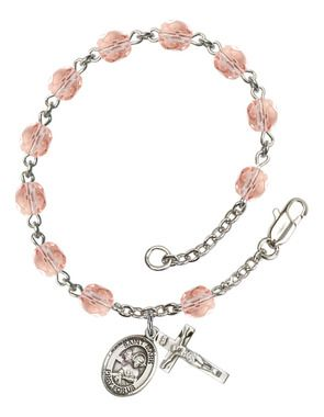 St. Mark the Evangelist Silver-Plated Rosary Bracelet with 6mm Pink Fire Polished beads