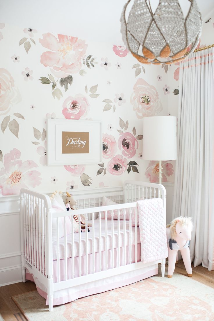 1000 ideas about nursery wallpaper on pinterest for Baby girl nursery mural