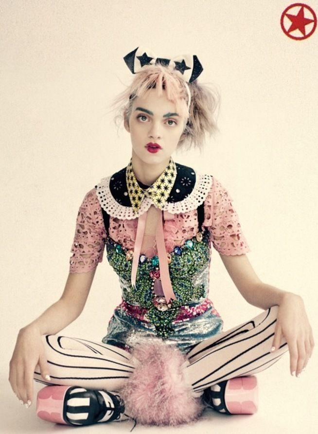 quirky girl sitting, pinstripe, pink goth, bubble goth, pastel goth, fashion, doll