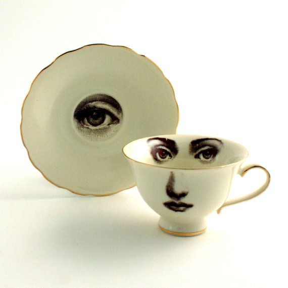 Altered Woman Face on Vintage Coffee Tee Cup  with Saucer Porcelain sugarwhite Brown Romantic whimsical