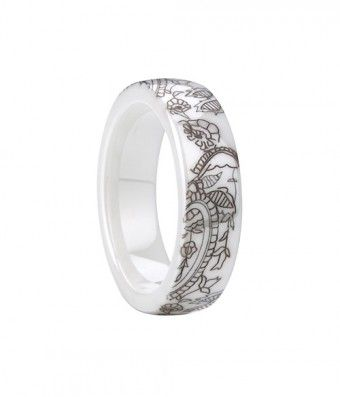 New Arrivals 6mm White Ceramic Ring Band with Laser Engraved Flower Pattern Ring - #Ceramic, #Fashion, #Rings, #Bands