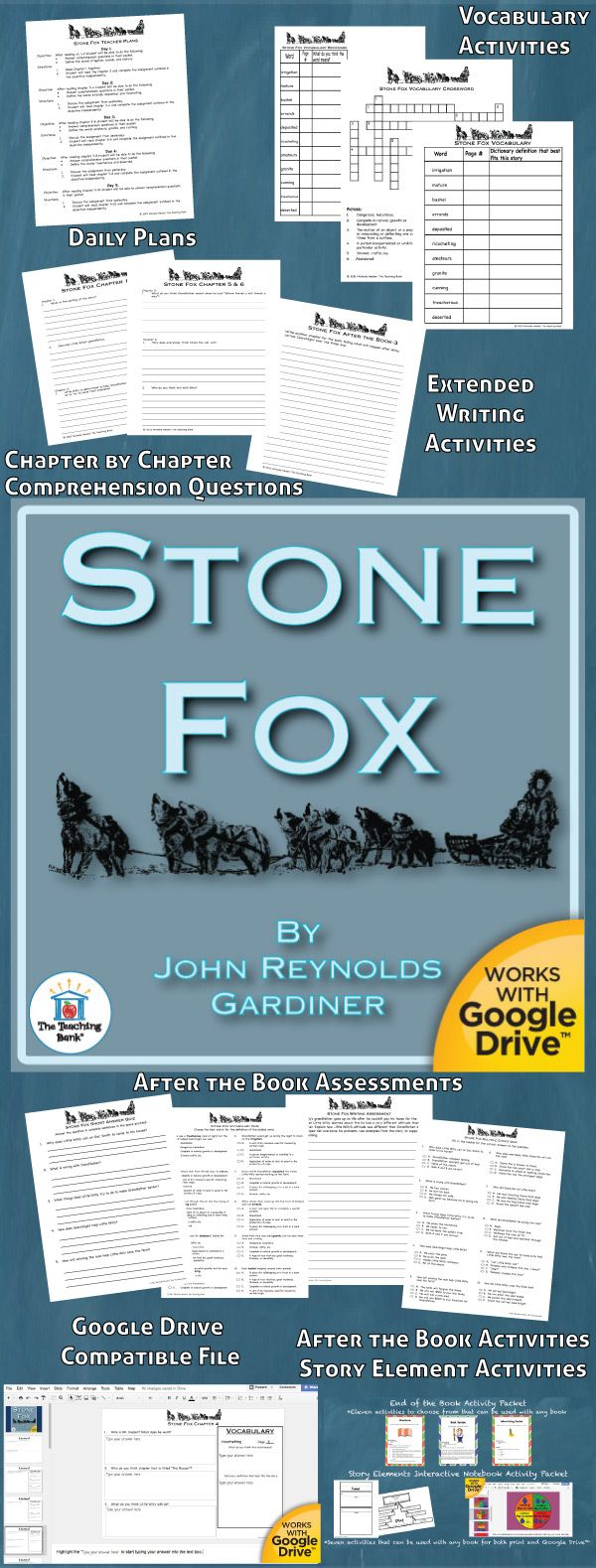 Stone Fox Novel Study is a Common Core Standard aligned book unit to be used with Stone Fox by John Reynolds Gardiner. This download contains both a printable format as well as a Google Drive™ compatible format.