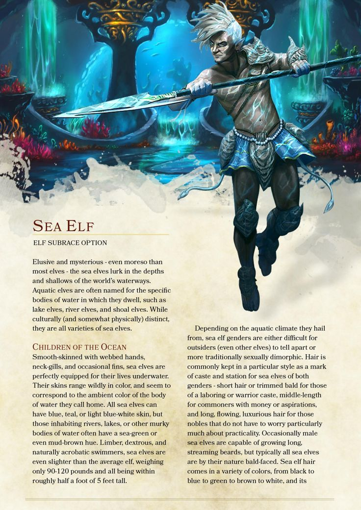 DnD 5e Homebrew — Sea elves by The_Singular_Anyone                                                                                                                                                     More