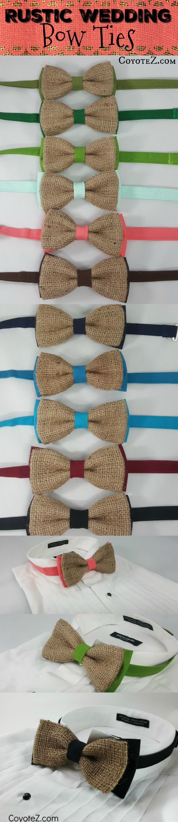 Rustic Wedding bow ties in all sorts of colors! https://www.etsy.com/listing/507958897/rustic-bowtie-custom-bow-tie-burlap