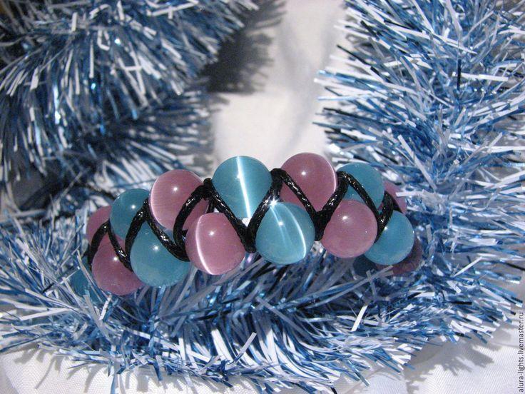 Купить Двойной браслет Шамбала с кошачьим глазом Новогоднее. Ярмарка мастеров