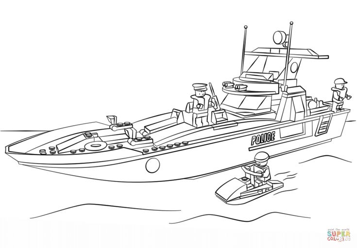 Lego Police Boat Coloring Page Free Printable Coloring Pages