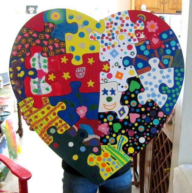 """Puzzle each student took home a piece and painted a piece--This could be used to create a beginninng of the years display for """"You're the Missing Piece to Our Puzzle."""""""