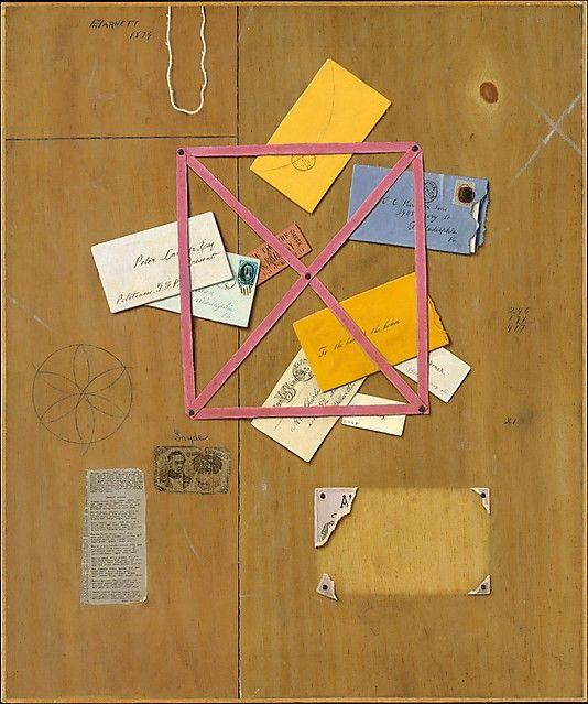 The Artist's Letter Rack  William Michael Harnett (1848–1892)  Date: 1879 Medium: Oil on canvas   I'm a sucker for trompe l'oeil.