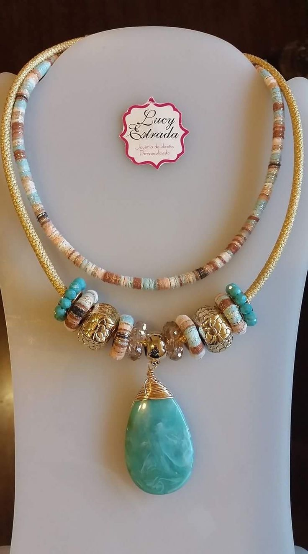 #collar #turquesa #bisuteria #bisuteriafina #fashion #fashionjewerly #handmade #hechoamano #Accesorios #accslucyestrada